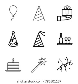 Anniversary icons. set of 9 editable outline anniversary icons such as gift on hand, party hat, confetti, wine bottle and glass, cake with one candle, sparklers
