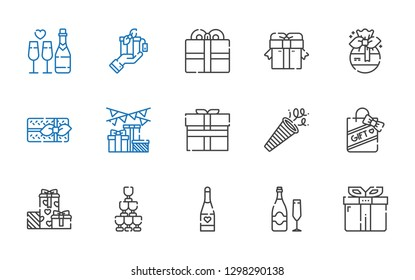 anniversary icons set. Collection of anniversary with gift, champagne, gifts, confetti, present. Editable and scalable anniversary icons.