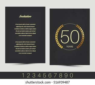 Anniversary invitation/greeting card with gold elements. Vector illustration.