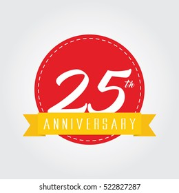 anniversary label sign icon 25 with yellow ribbon