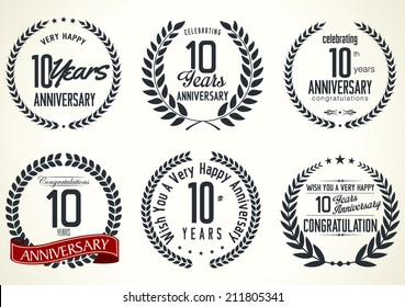 Anniversary laurel wreath design, 10 years