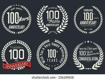 Anniversary laurel wreath design,  100 years