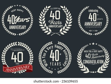Anniversary laurel wreath design,  40 years