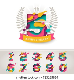 Anniversary logo celebration signs with abstract papercut shapes, laurel wreath and ribbon, set of numbers in trendy paper cut style. Vector illustration. Design for poster, greeting card or brochure