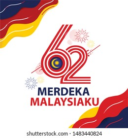 Anniversary Logo of The Federation of Malaysia Country, happy independence day Malaysia 62th