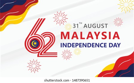 Anniversary Logo of The Federation of Malaysia Country, happy independence day Malaysia 62th landscape banner