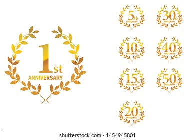 Anniversary logo with laurel motif, icon set. 1st, 5th, 10th, 15th, 20th, 30th, 40th, 50th,gold logo