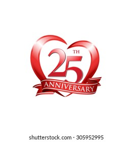 anniversary logo red heart 25