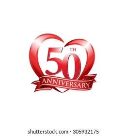anniversary logo red heart 50