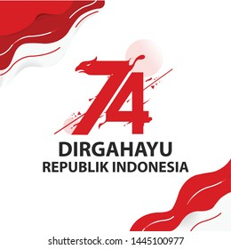 Anniversary Logo of Republic of Indonesia Independence, 74th Indonesia independence day, dirgahayu republik indonesia translation happy independence day republic of indonesia