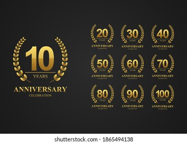 Anniversary logotype set, for celebration event, wedding, greeting card and banner. Vector illustration