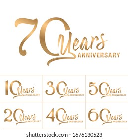 Anniversary logotype set. Vector Anniversary greeting card set.