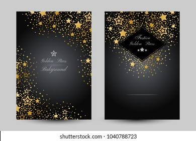 Anniversary luxury backgrounds with gold stars decoration. Vertical posters with corner vignette
