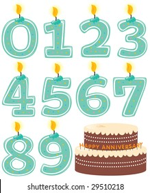 Anniversary Numbered Candle Set and Cake Isolated