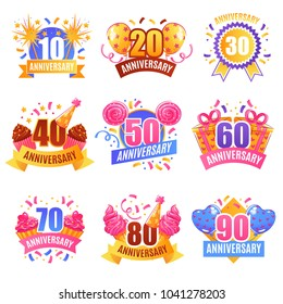 Anniversary numbers for presents decoration cake tops 9 festive images collection with sparkling lights isolated vector illustration