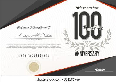 Anniversary retro background 100 years