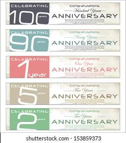 Anniversary retro banner, set