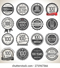 Anniversary retro labels collection, 100 years