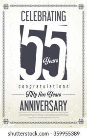 Anniversary retro vintage background 55 years