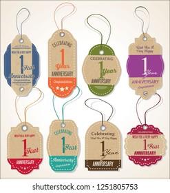 Anniversary retro vintage style badge design vector collection