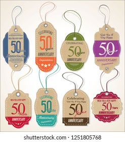 Anniversary retro vintage style badge design vector collection