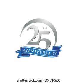 anniversary ring logo blue ribbon 25