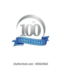 anniversary ring logo blue ribbon 100