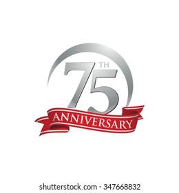anniversary ring logo red ribbon 75