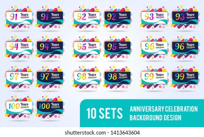 anniversary set of modern design elements, colorful edition, celebration template design, pop celebration template design, white and black background