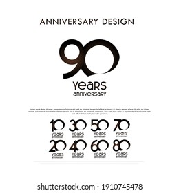 Anniversary Set Number Vector Design For Banner Print and Greeting Background