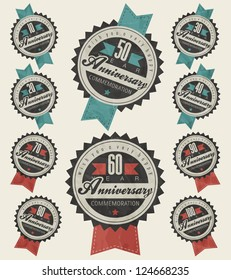 Anniversary sign collection and cards design in retro style. Template  of anniversary, jubilee or birthday card with number editable. Vintage vector typography.