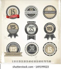 Anniversary sign collection, retro design