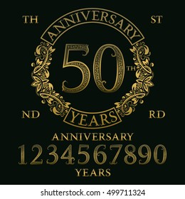 Anniversary sign kit. Golden numbers, frame and some words for creating celebration emblems.