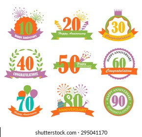 Anniversary signs and symbols with numbers set, cake, balloons, fireworks, cracker, vector illustration