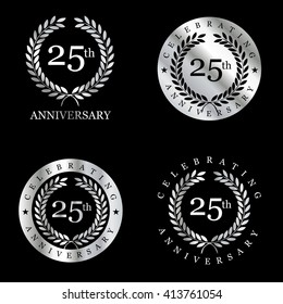 Anniversary Silver laurel wreath. Set of Metal Anniversary Signs Badges