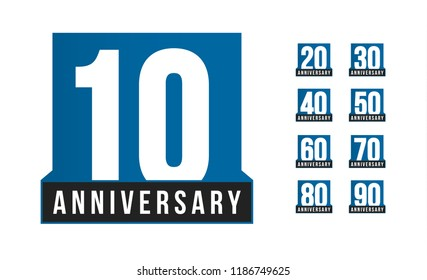 Anniversary vector icons set. Birthday logo template. Greeting card desig element. Simple business decade emblem. Blue strict style number. Isolated vector illustration on white background.