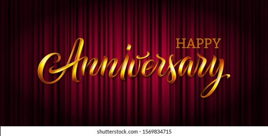 Anniversary vector text banner. Happy Anniversary 3d gold word on red theatre curtain with spotlight. Luxury premium background, backdrop, illustration for birthday celebration poster, party or event