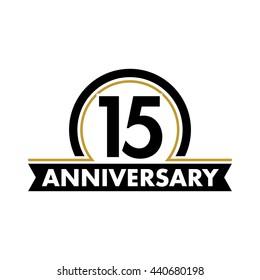 Anniversary vector unusual label. Fifteenth year symbol. Birthday abstract logo. 15th jubilee