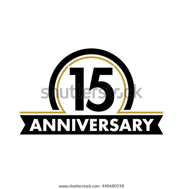 Anniversary vector unusual label. Fifteenth year symbol. Birthday abstract logo. 15th jubilee