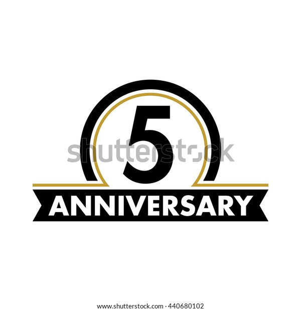 Anniversary vector unusual label. Fifth year symbol. Birthday abstract logo. 5th jubilee