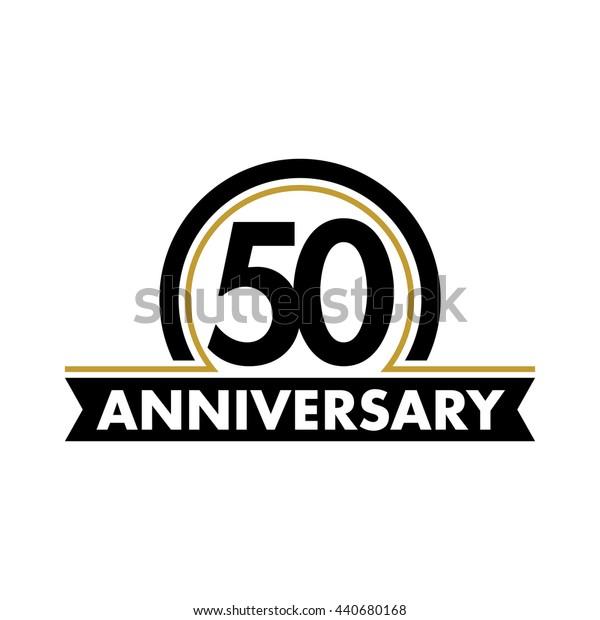 Anniversary vector unusual label. Fiftieth year symbol. Birthday abstract logo. 50th jubilee