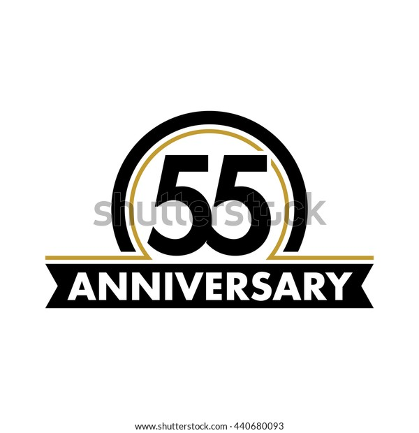 Anniversary vector unusual label. Fifty-fifth year symbol. Birthday abstract logo. 55th jubilee