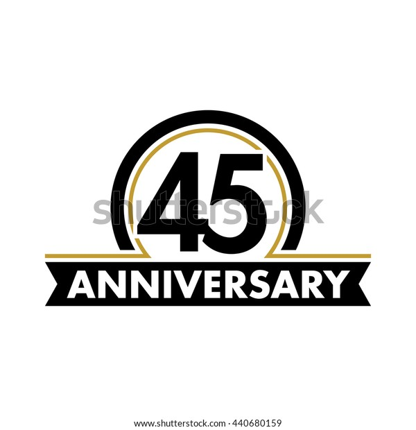 Anniversary vector unusual label. Forty-fifth year symbol. Birthday abstract logo. 45th jubilee