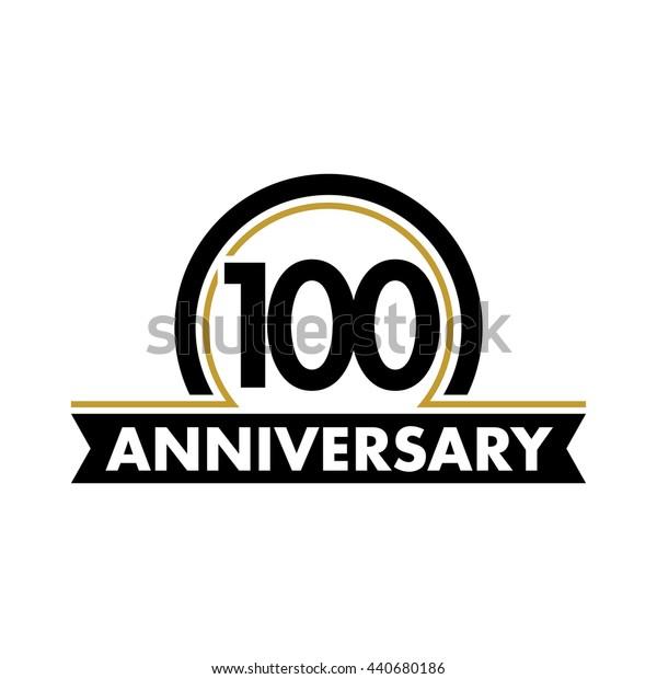 Anniversary vector unusual label. Hundredth year symbol. Birthday abstract logo. 100th jubilee