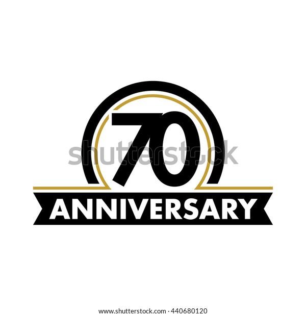 Anniversary vector unusual label. Seventieth year symbol. 70 years birthday abstract logo. 70th jubilee