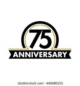 Anniversary vector unusual label. Seventy-fifth year symbol. Birthday abstract logo. 75th jubilee