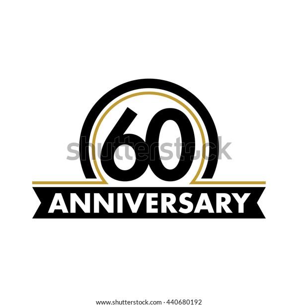 Anniversary vector unusual label. Sixtieth year symbol. Birthday abstract logo. 60th jubilee