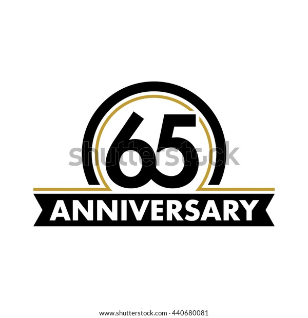 Anniversary vector unusual label. Sixty-fifth year symbol. Birthday abstract logo. 65th jubilee