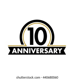 Anniversary vector unusual label. Tenth year symbol. Birthday abstract logo. 10th jubilee