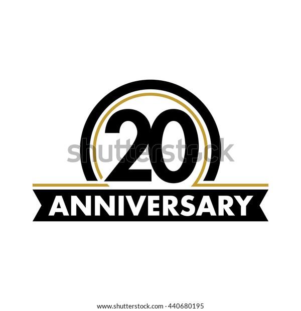 Anniversary vector unusual label. Twentieth year symbol. Birthday abstract logo. 20th jubilee